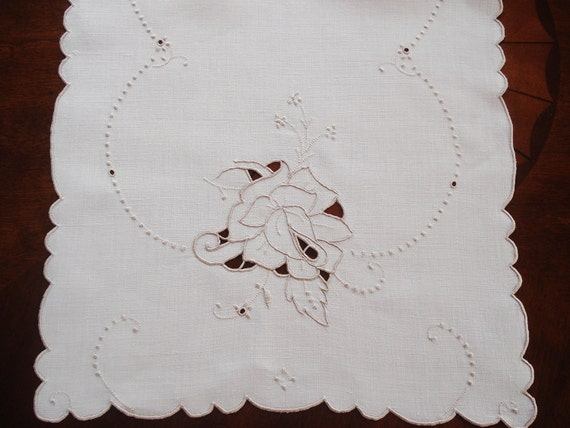 Vintage Madeira Table Runner Hand Embroidered Roses