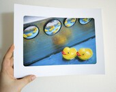 Art for kids children room bathroom baby boys girls fun colorful Rubber Ducks in a Row 8.5 x 11