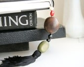 Gift for book lovers Coffee table book decor tassel, eco style natural Amazon, gift under 25