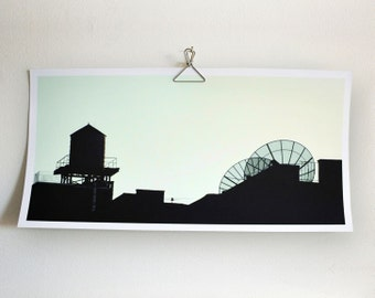 New York City skyline Art Photography Architectural water tower antennas, 10 x 20 in