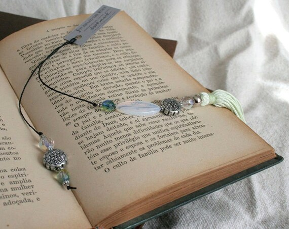 Decorative bookmark with beads - OOAK Acqua Green Iridescent Beaded Book Thong with silk tassel - gift under 20