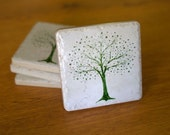 Green Tree on Oyster Coasters  -  Set of 4