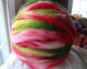 8 oz 100% Hand Dyed, Crazy Ball, wool roving