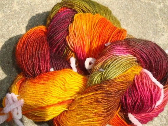 379 Yds. 100 % Shetland/ Merino Wool, Singles, Fingering Weight, Fall Colors, Hand Dyed Varigated Yarn