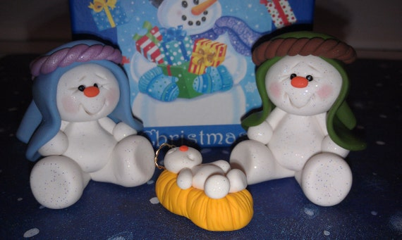 OOAK - Polymer Clay Snowman Nativity Set with Gift Box