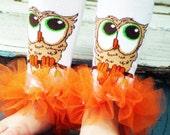 """Owl Bunny Legs Girls Ruffled Tutu Leg Warmers - Fits crawling baby 6m to girls 3T approx 6"""" long"""