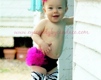 Tutu Blommers - Hot Pink & Black - Ruffle tutu Diaper Cover - Perfect for photo prop, cake smash, birthday, - Sizes 0-24 months