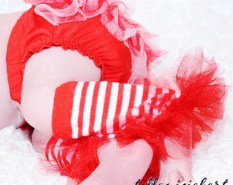 "Candy Striped Ruffle Tutu Leg Warmers - Perfect for photos - fits newborn up to 12m aprox 6"" long"