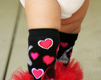 Valentines ruffle tutu leg warmers Hearts and Hersey Kisses Girls Ruffle Leg Warmers - Perfect for photos - Fits crawling babys 6m-3T