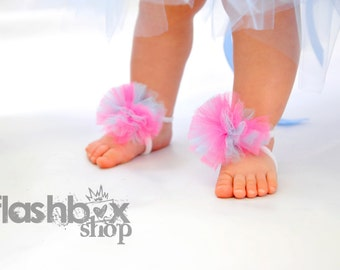Little Bunny Toes - Sweet baby bottomless sandals with fun Bubble Gum pink-blue poof on top - Perfect for baby newborn to 12m