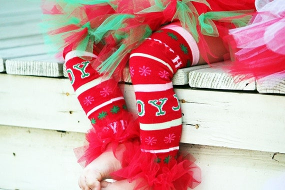 "BLOW OUT SALE JoY - Red Christmas Bunny Legs Girls Ruffled Tutu Leg Warmers - Perfect for crawling baby 6m to girls 6X approx 12"" long"