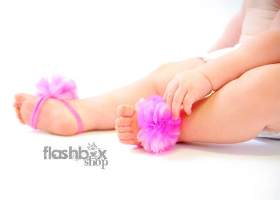 Little Bunny Toes - Sweet baby barefoot, bottomless sandals with fun cupcake pink poof on top - Perfect for baby newborn to 12m