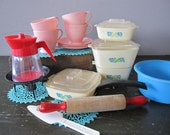Vintage Kids Dishes. Plastic Pyrex. Coffee Burner. Teacups and Dolies.