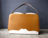 White and Tan.  Stitching. Oxford Style Handbag.