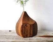 Modern Walnut Wood Vase. Angular Design.