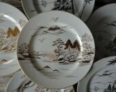 Set of 6 Hollywood Regency Gold and Silver Plates