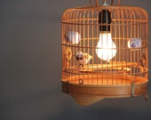 Vintage Bamboo Birdcage Hanging Light with Fabric Cord