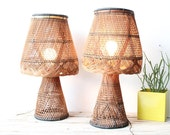 r e s e r v ed Amazing Pair of Large Handwoven Wicker Lamps