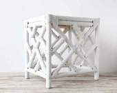 Hollywood Regency White Bamboo Side Table