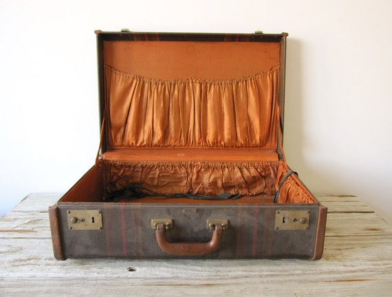 Vintage Hard-Sided Suitcase with Leather Trim
