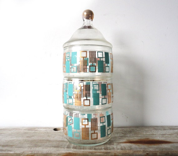 Stackable Glass Turquoise and Gold Bathroom Apothecary Jar