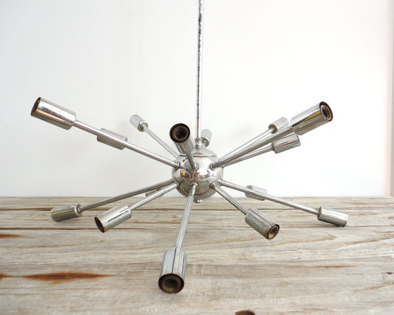 r e s e r v e d An Original Sputnik Chrome Hanging Chandelier.  16 Arms.