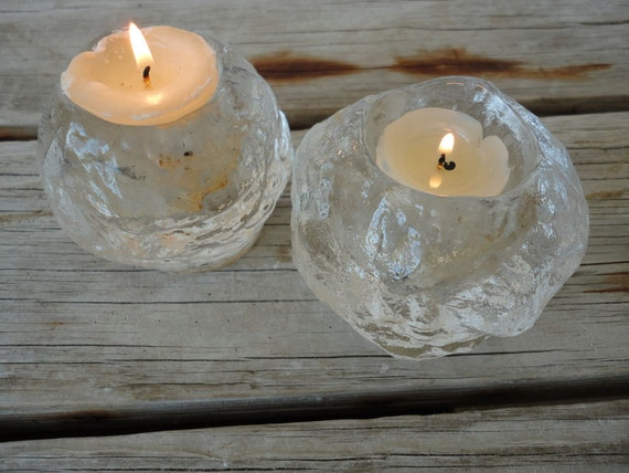 Modern Ice Clear Glass Candle Holders