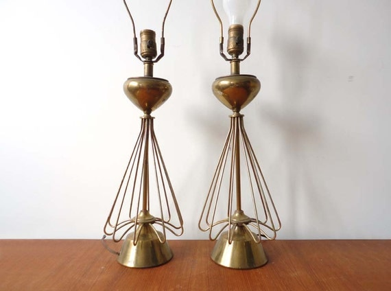Pair of Gold Modern Wire Lamps