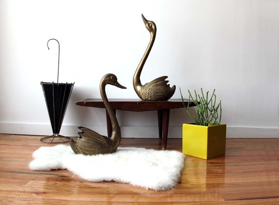 r e s e r v e d Pair of Giant Brass Swan Planters
