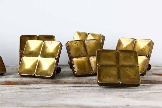 Vintage Brass Hardware. Large Square Drawer Pulls
