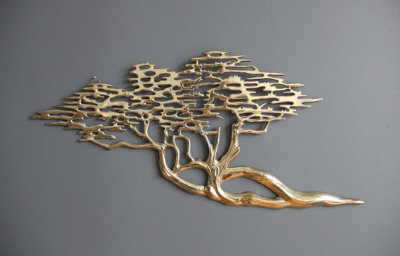 Modern Solid Brass Tree Wall Hanging