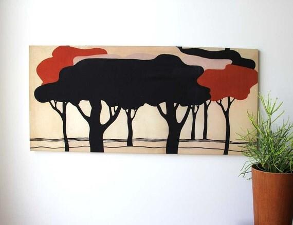 Extra Wide Tree Grove Silkscreen Textile Wall Art