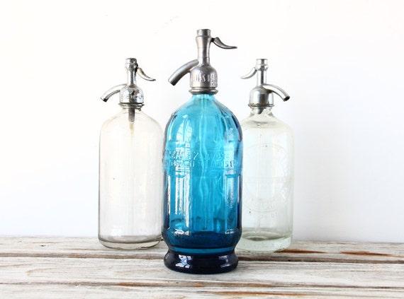 Rare Argentine Beveled Blue Seltzer Bottle
