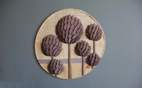 Large Don Freedman Purple Cacti Fiber Textile Art Wall Hanging