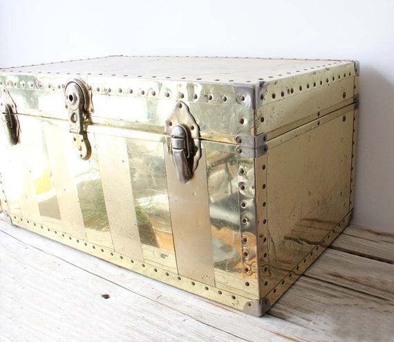 Large Brass Trunk. Perfect Coffee Table