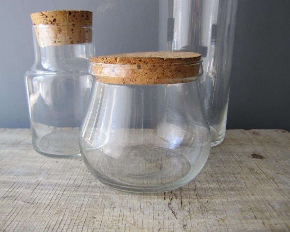 Glass Apothecary Jar Cork Lid Various Sizes