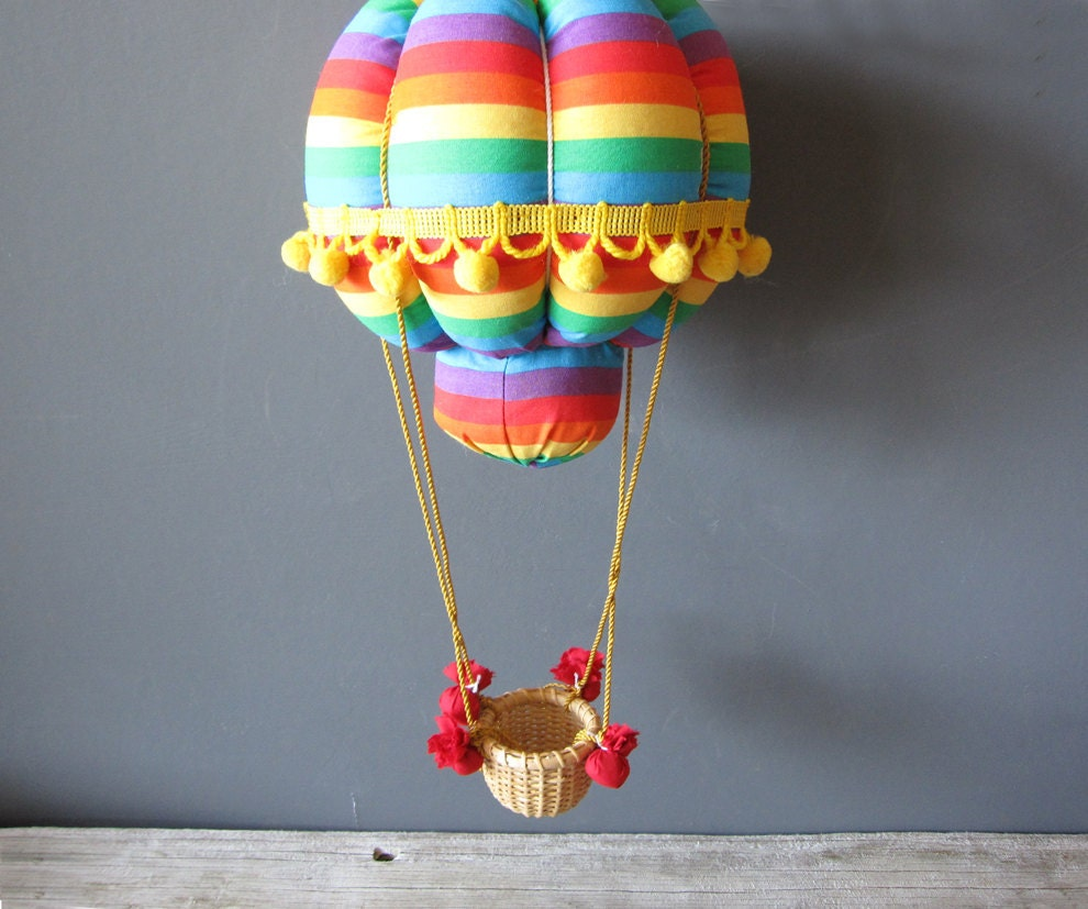 Hanging hot air balloon nursery decor rainbow for Air balloon decoration