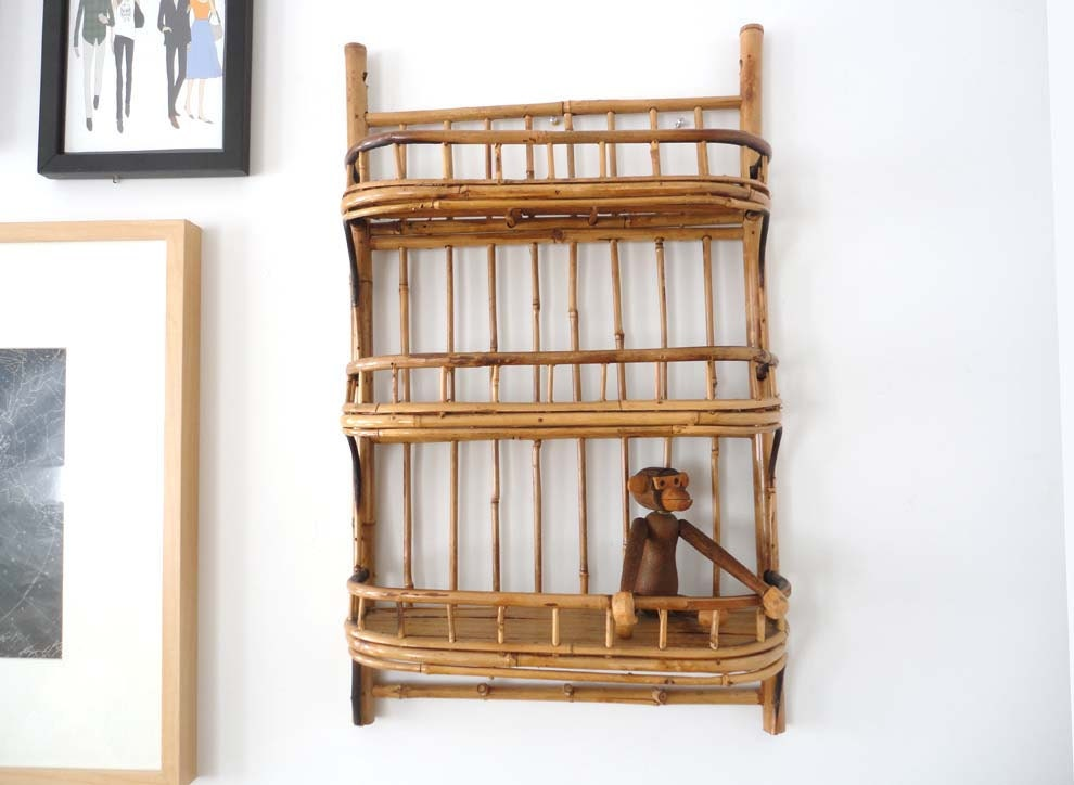 Wall Mirror x large wall mirrors : Mid Century Bamboo Rattan Wall Shelf