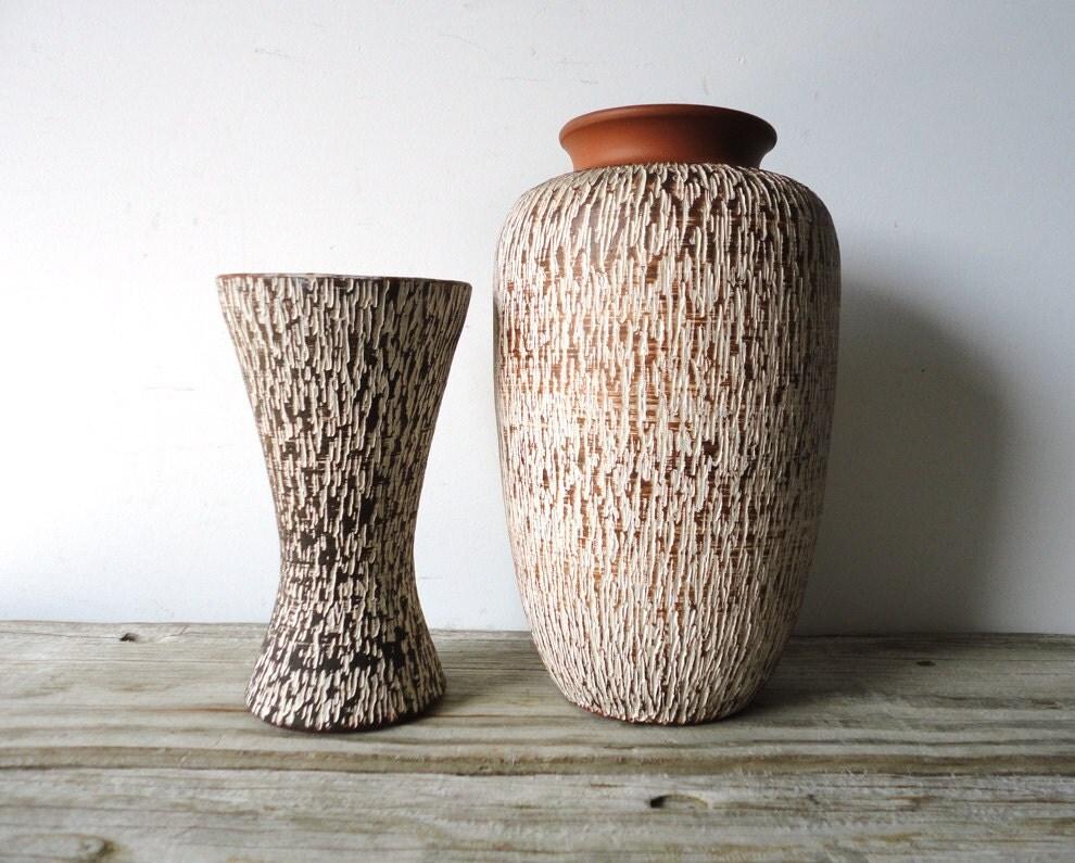 Rare Textured Handarbeit West Germany Ceramic Vase Pair