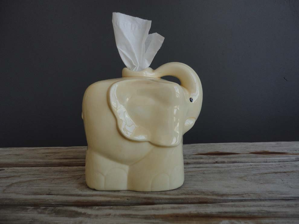 Vintage yellow elephant tissue holder - Nose tissue dispenser ...