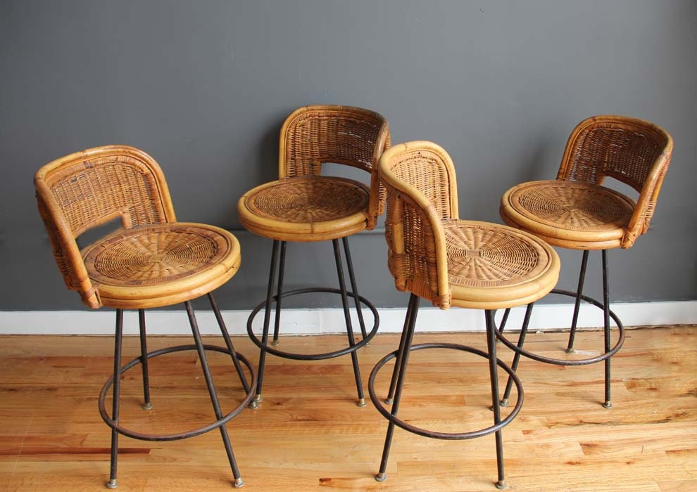 Set Of Mid Century Tiki Bar Stools