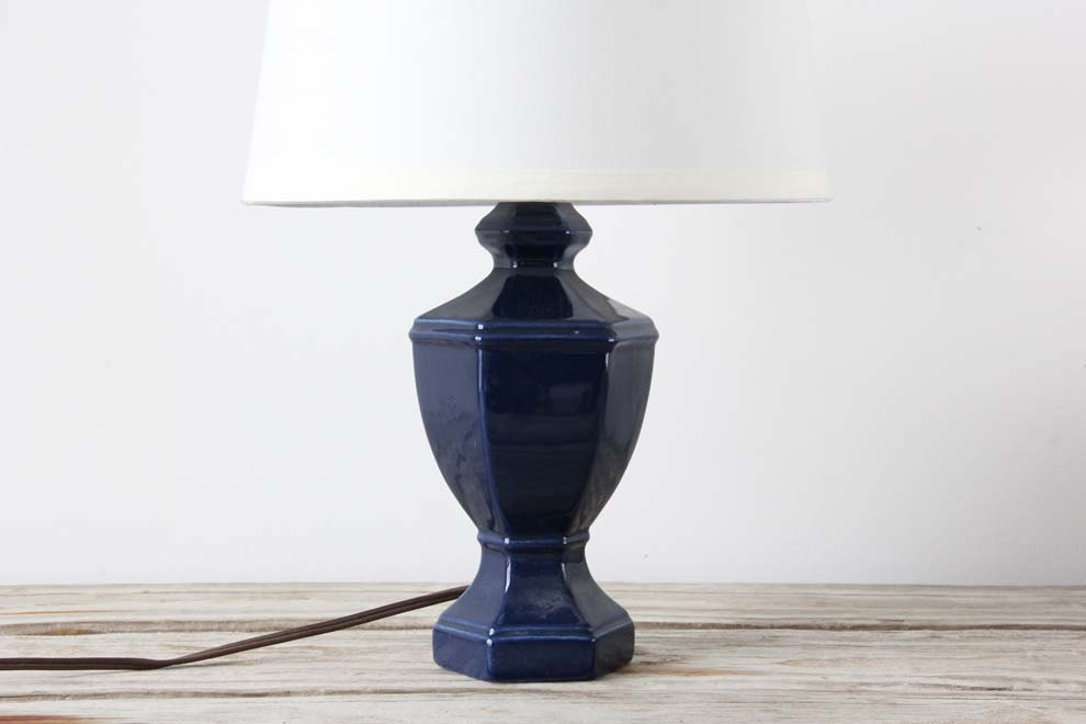 navy blue ceramic table lamp by gallivantinggirls on etsy. Black Bedroom Furniture Sets. Home Design Ideas