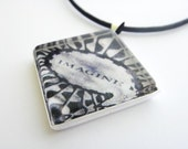 photo pendant - photo necklace -  glass tile - IMAGINE John Lennon Central Park - Sterling Silver  with your choice of chain/ribbon/cord