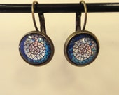 Photo earrings - BLUE WAVE - round glass tile set in antiqued brass with dangle lever back