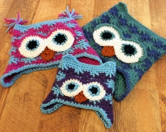 Hootie Owl Hat with earflaps- BABY, CHILD, ADULT sizes