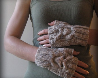 Give a Hoot Fingerless Owl Mittens with thumbs- CHOOSE YOUR COLOR