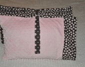 Custom Kindermat  Nap Mat Set Pink & Brown Flower with Soft Pink  Minky Dot Chenille