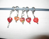 Set of 5 glass bead stitch markers