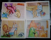 Note Cards Spinning Wheel Theme Series 2 set of 4 cards Ashford Hitchiker Cowichan Lendrum