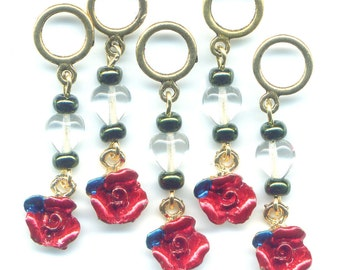Red Roses Knitting Stitch Markers  PhatFiber Roses and Rust Set of 5 /SM15